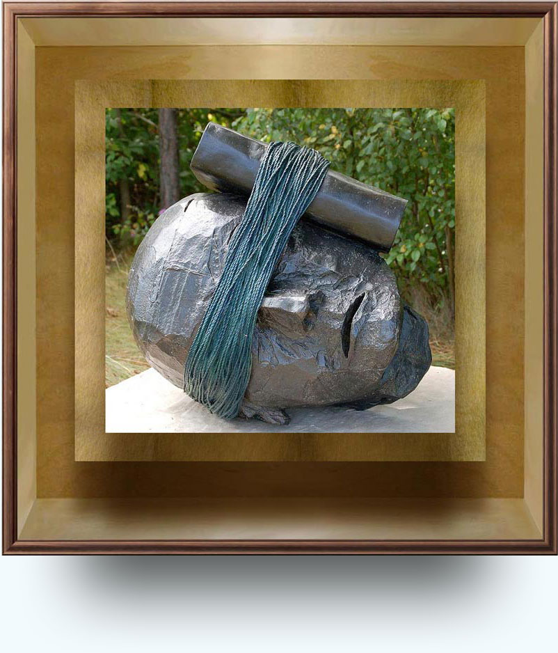 Bill Woodrow (b. in 1948 near Henley, Oxfordshire, UK. Lives and works in London). Listening to History. 1995; cast 2001. Bronze. 75×68×79 cm. Frederik Meijer Gardens & Sculpture Park, Grand Rapids, Michigan, US. http://www.flickr.com/photos/hanneorla/4062347148/