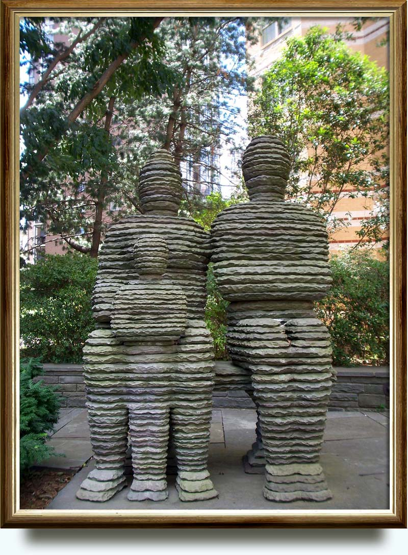 Boaz Vaadia (b. 1951 in Gat Rimon, Israel. Currently lives and works in New York City, New York). The Family: David, Haggit and Adoniyya. 1992. Bluestone. 83×66×48 in. Partnership between Arlington County and LaSalle Partners 1300 N 17th St., Roslyn, VA, US.